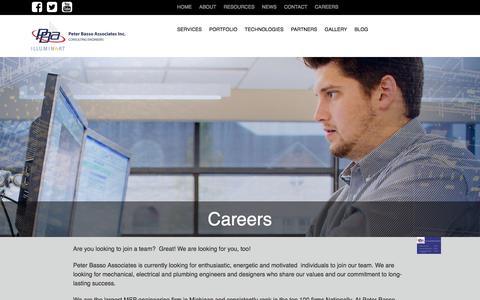 Screenshot of Jobs Page peterbassoassociates.com - MEP Engineering Careers   MEP Consulting Firm - captured July 17, 2018