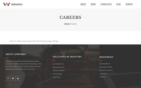 Screenshot of Jobs Page adworkz.com - Careers - Adworkz - captured May 29, 2017