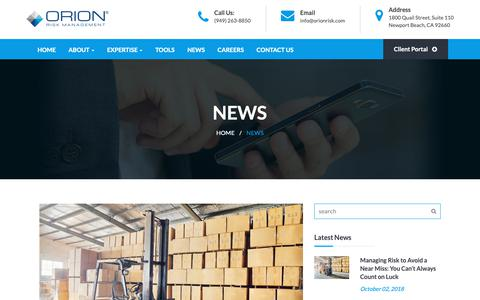 Screenshot of Press Page orionrisk.com - News – Orion Risk Management - captured Oct. 20, 2018