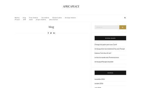 Screenshot of Blog africapeace.org - blog – le guide des soldes et événements shopping - captured Nov. 20, 2016