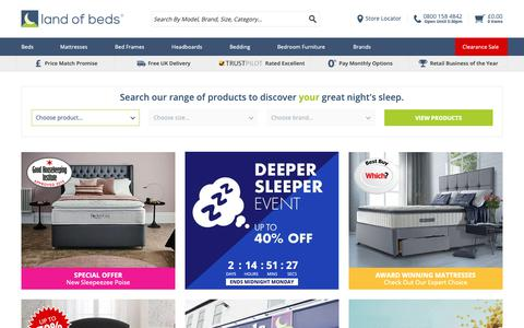 Screenshot of Home Page landofbeds.co.uk - Bed Retailer Of The Year - Supplying Mattresses, Bed Frames, Divan Beds and much more - captured May 18, 2019