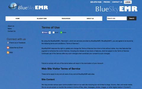 Screenshot of Terms Page blueskyemr.org - Terms of Use :: BlueSky EMR - captured Sept. 30, 2014