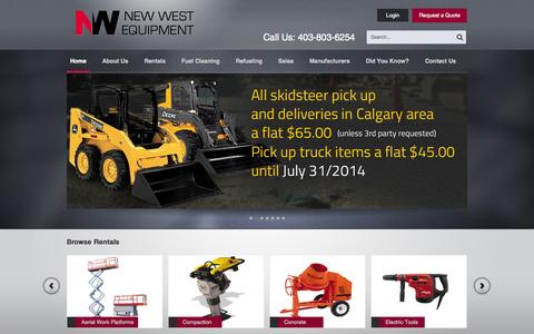 Screenshot of Home Page newwestequipment.com - Affordable Construction Equipment Rentals in Calgary, Alberta - captured Oct. 7, 2014