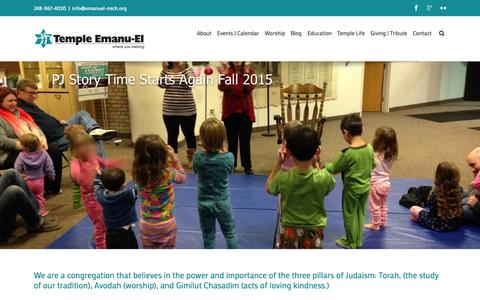 Screenshot of Home Page emanuel-mich.org - Where You Belong | Temple Emanu-El - captured Sept. 2, 2015
