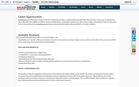 Screenshot of Jobs Page importrates.com - Import/Export | ImportRates.com Careers | ImportRates.com - captured Nov. 26, 2016