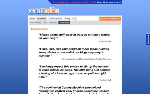Screenshot of Testimonials Page contestmachine.com - ContestMachine: Testimonials - captured Sept. 10, 2014