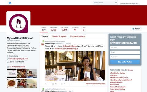 Screenshot of Twitter Page twitter.com - MyNextHospitalityJob (@MyNextHospitali) | Twitter - captured Oct. 26, 2014
