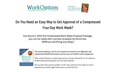 Screenshot of workoptions.com - Compressed Work Week: The Fastest Way to Get It Approved by Your Boss - captured Nov. 24, 2017