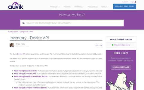 Screenshot of Support Page auvik.com - Inventory - Device API – Auvik Support - captured May 7, 2019
