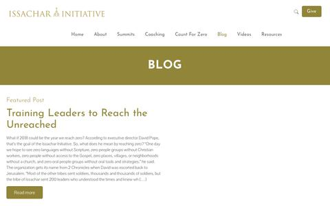 Screenshot of Blog issacharinitiative.org - Blog - Issachar Initiative - captured Sept. 20, 2018