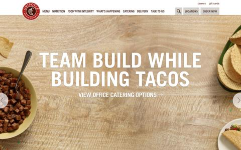Screenshot of Home Page chipotle.com - Chipotle Mexican Grill - captured June 8, 2016