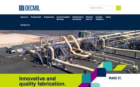 Screenshot of Home Page decmilgroup.com.au - Decmil - captured Oct. 5, 2014