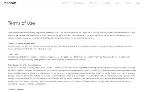 Screenshot of Terms Page resonate.com - Terms of Use - Resonate - captured July 3, 2016