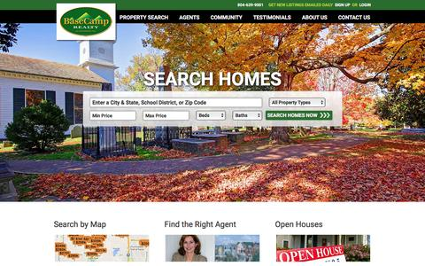 Screenshot of Home Page basecamprealty.com - Base Camp Realty - Richmond Virginia Homes and Land for Sale - captured Feb. 7, 2016