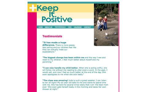 Screenshot of Testimonials Page keepitpositive.net - Testimonials - captured Sept. 30, 2014