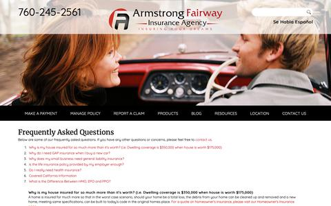Screenshot of FAQ Page armstrong-fairway.com - Frequently Asked Questions - Armstrong Fairway Insurance Agency - captured Oct. 4, 2018