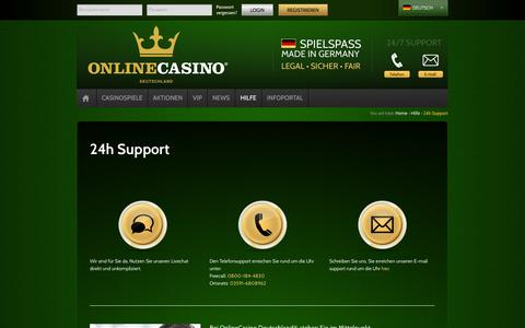 Screenshot of Support Page onlinecasino.de - 24h Support | OnlineCasino - Deutschland - captured Sept. 19, 2014