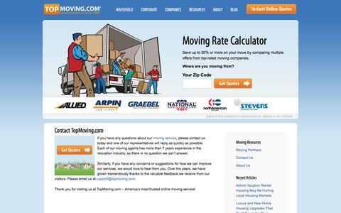 Screenshot of Jobs Page topmoving.com - Contact Us | TopMoving.com Contact Information - captured Nov. 2, 2016