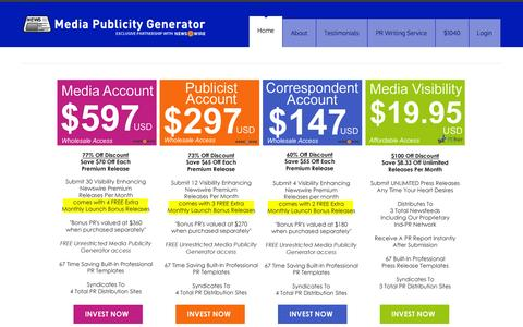 Screenshot of Pricing Page mediapublicitygenerator.com - Media Publicity Generator - captured Jan. 19, 2016