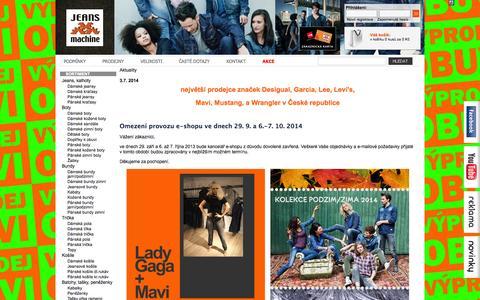 Screenshot of Press Page jeansmachine.cz - Aktuality - Jeans machine - captured Oct. 6, 2014