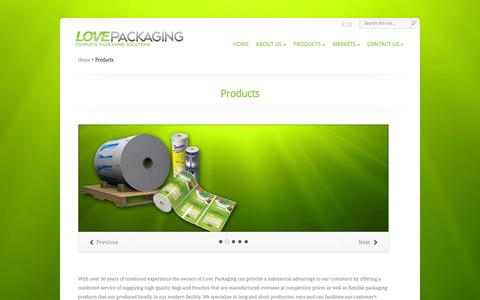 Screenshot of Products Page lovepackaging.com - Products | www.lovepackaging.com - captured Oct. 1, 2014