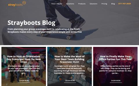 Screenshot of Blog strayboots.com - Strayboots Blog | Corporate Team Building Activities | Scavenger Hunts - captured Oct. 19, 2018