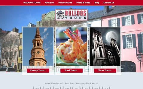 Screenshot of Home Page bulldogtours.com - Voted Charleston's Best Walking & Ghost Tours | Bulldog Tours - captured Oct. 7, 2018