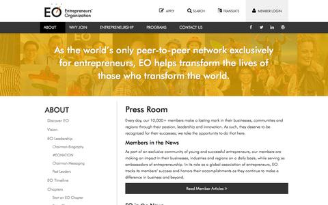Screenshot of Press Page eonetwork.org - About EO — Press Room — Entrepreneurs' Organization - captured Sept. 22, 2014