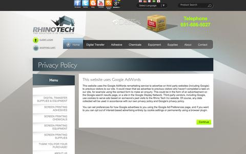 Screenshot of Privacy Page rhinotechinc.com - Privacy Policy - captured Sept. 23, 2014