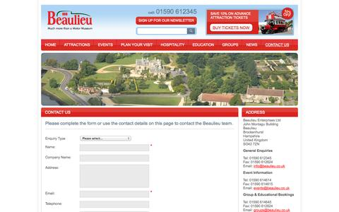 Screenshot of Contact Page beaulieu.co.uk - Contacting Beaulieu, National Motor Museum, Palace House and Garden - captured Sept. 19, 2014