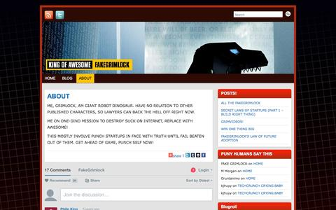 Screenshot of About Page fakegrimlock.com - ABOUT » FAKEGRIMLOCK BLOG | FAKEGRIMLOCK BLOG - captured March 17, 2016