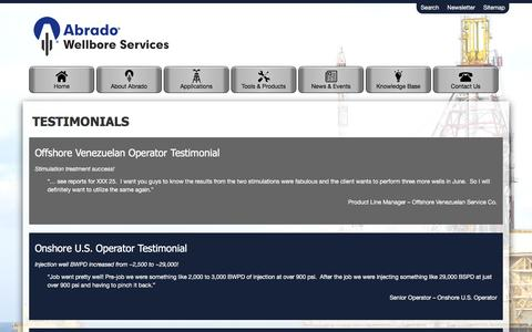 Screenshot of Testimonials Page abrado-intl.com - Testimonials - captured Feb. 5, 2016