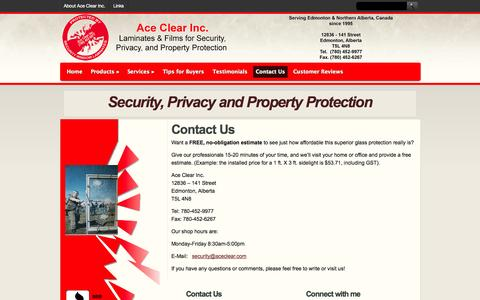 Screenshot of Contact Page aceclear.com - Ace Clear – Glass Security Products – Security Laminates, Glass Tinting,  Decorative Glass Coatings- Edmonton, Alberta   |  Contact Us - captured Oct. 4, 2014