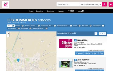 Screenshot of Services Page vitrinesdereims.com - Boutic - Les commerces - Services - de Reims - captured Oct. 28, 2018