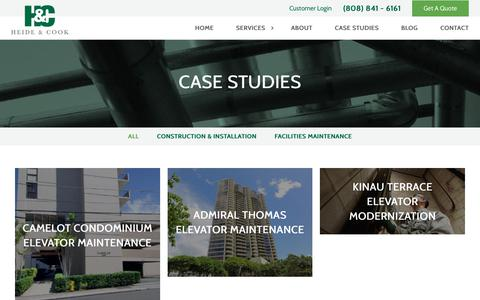 Screenshot of Case Studies Page heidecook.com - Case Studies - Heide and Cook - captured July 31, 2017