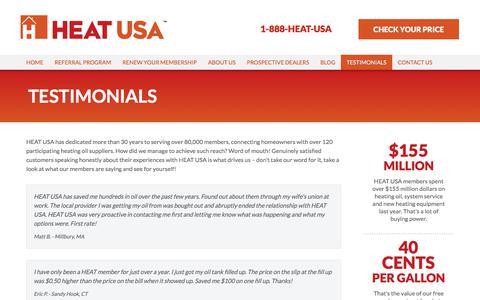 Screenshot of Testimonials Page heatusa.com - Member Testimonials | Discounted Heating Oil & Service Plans | HEAT USA - captured July 15, 2018