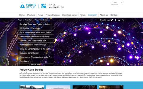 Screenshot of Case Studies Page prolyte.com - Prolyte Case Studies   Prolyte - captured Nov. 14, 2016