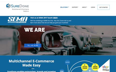 Screenshot of Home Page suredone.com - SureDone - Multichannel eCommerce Platform  | eBay and Amazon Listing & Inventory Management - captured Oct. 30, 2017