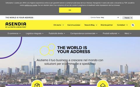 Screenshot of Home Page asendia.it - Servizi postali e per l'e-commerce nel mondo - Asendia Italia - captured Dec. 29, 2017