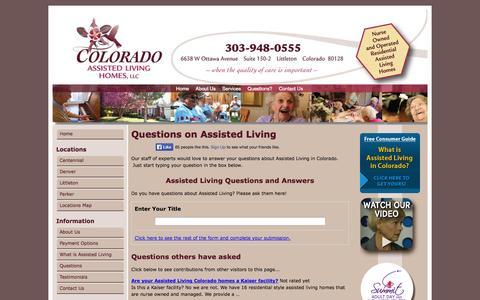 Screenshot of FAQ Page coloradoassistedliving.com - Questions on Assisted Living   Colorado Assisted Living Homes - captured Oct. 3, 2014