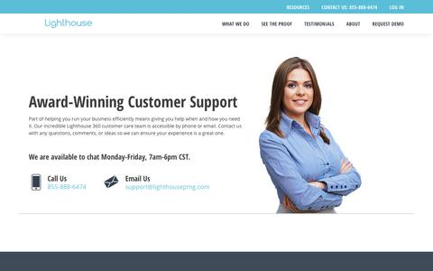 Screenshot of Support Page lh360.com - Customer Support | Lighthouse 360 | Lighthouse 360 - captured June 16, 2019