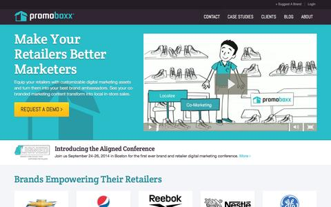 Screenshot of Case Studies Page promoboxx.com - Promoboxx - The Brand to Retailer Marketing Platform - captured Sept. 17, 2014
