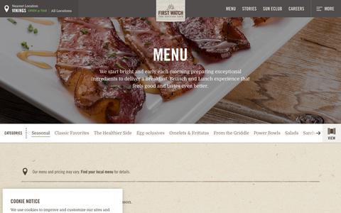 Screenshot of Menu Page firstwatch.com captured Sept. 26, 2018