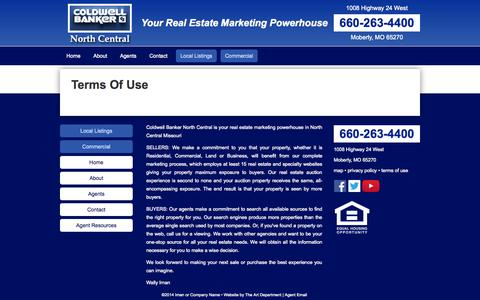 Screenshot of Terms Page cbnorthcentral.com - Coldwell Banker North Central  – Terms Of Use - captured Oct. 3, 2014