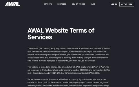 Screenshot of Terms Page awal.com - AWAL Website Terms of Use - captured July 28, 2018