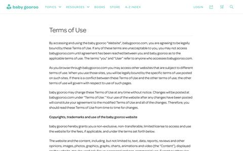 Screenshot of Terms Page babygooroo.com - Terms of Use | baby gooroo - captured Jan. 12, 2017