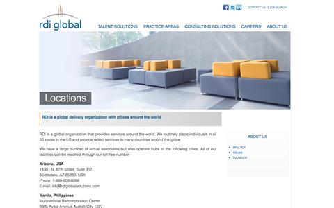 Screenshot of Locations Page rdiglobalsolutions.com - Rdi Global - captured Oct. 7, 2014