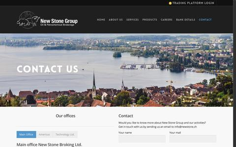 Screenshot of Contact Page newstone.ch - Contact - New Stone - captured Feb. 14, 2016