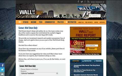 Screenshot of Contact Page wallstreetdaily.com - Customer Feedback - Wall Street Daily - captured Sept. 19, 2014