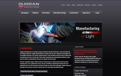 Screenshot of Jobs Page dugganmfg.com - Duggan Manufacturing » Contact - captured Oct. 5, 2014